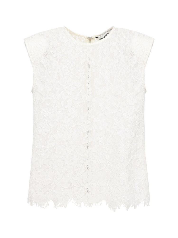 SELF-PORTRAIT Sleeveless Cord Lace Top in ivory