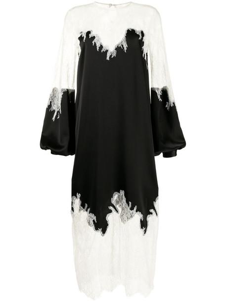 Costarellos Marsilia lace-trimmed satin dress in black
