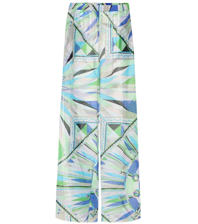 Emilio Pucci Beach Cotton and silk wide-leg pants in green