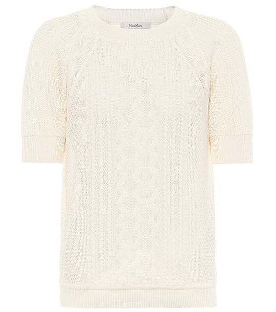 Max Mara Austero knitted linen shirt in beige