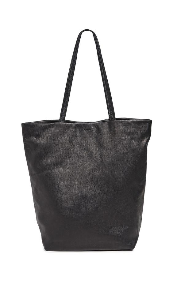 BAGGU Large Leather Tote in black
