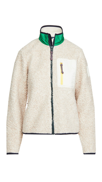 Tory Sport Sherpa Fleece Jacket in natural