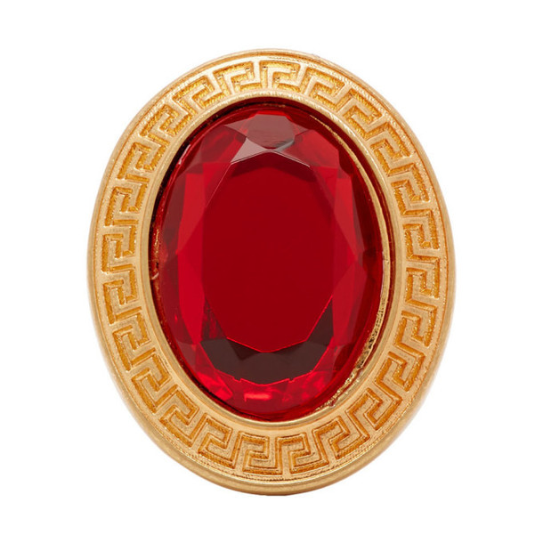 Versace Gold and Red Crystal Greek Key Ring