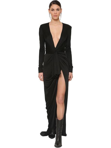 REDEMPTION Long Draped Viscose Dress in black