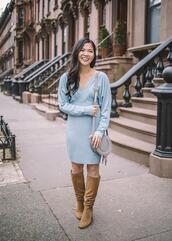 skirttherules,blogger,dress,shoes,bag,blue dress,knee high boots,spring outfits