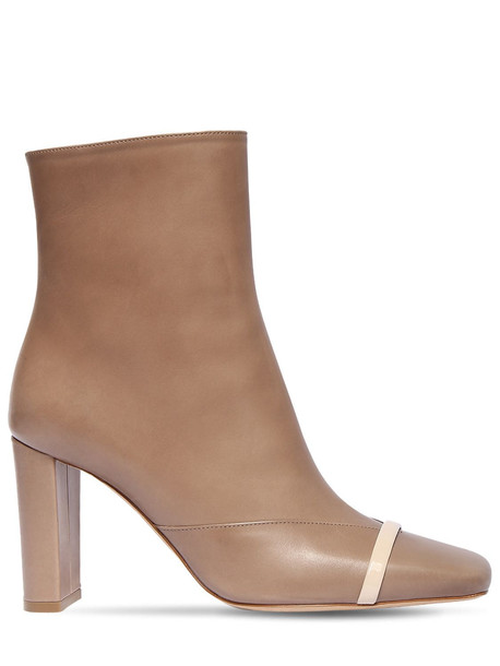MALONE SOULIERS 85mm Lori Leather Ankle Boots in taupe / beige