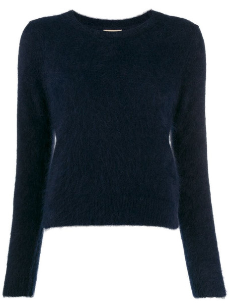 Bellerose round neck fuzzy knit jumper in blue