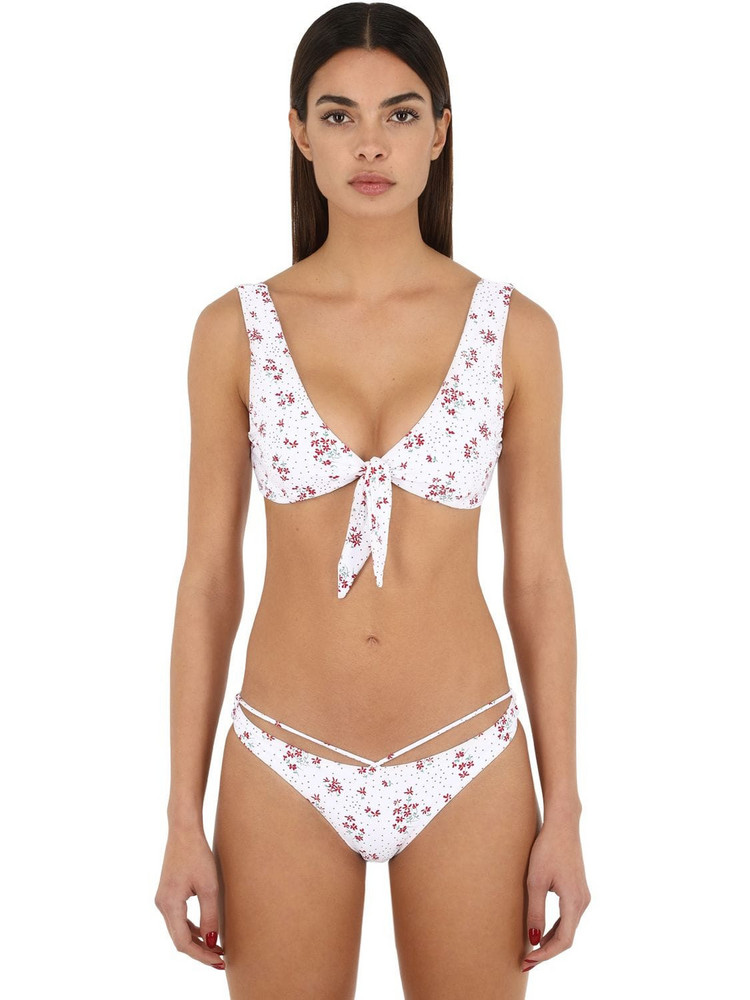 BOND EYE Floral Print Lycra Bikini Top in white