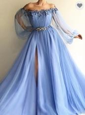 dress,blue dress,bondeau,prom dress,baby blue,light blue,long prom dress,long dress,long sleeve dress,long sleeves,off the shoulder,off the shoulder dress,pearl