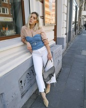 top,sleeveless top,denim top,wide-leg pants,cropped jeans,mules