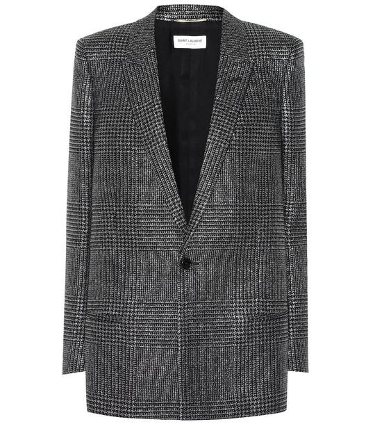 Saint Laurent Metallic checked blazer in black