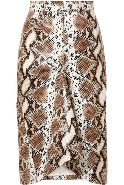 Pushbutton - Snake-effect Faux Leather Skirt - Snake print