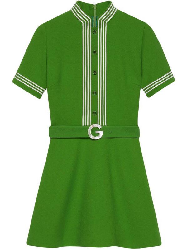 Gucci striped-trim belted dress in green