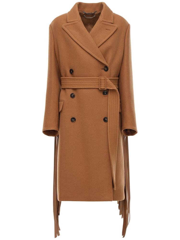 STELLA MCCARTNEY Wool Twill Double Breast Coat W/ Fringe in camel