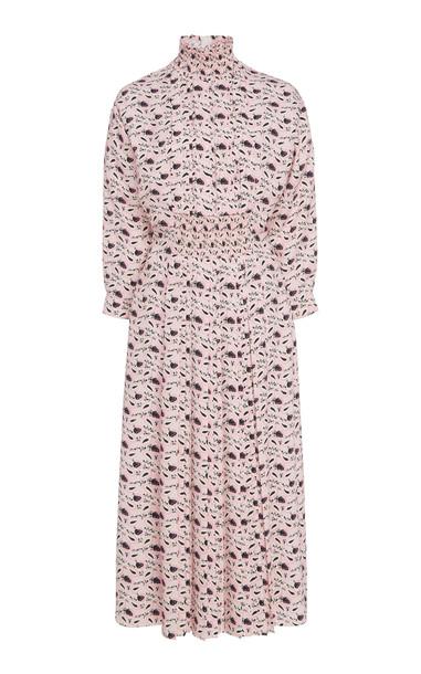 Prada Printed Pleated Midi Dress in print