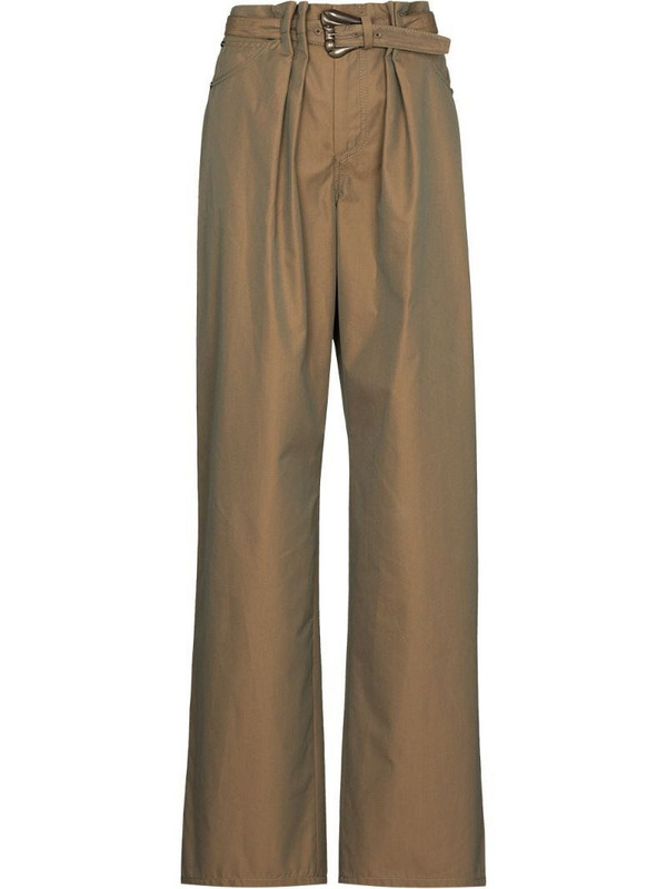 By Any Other Name belted-waist wide-leg trousers in green