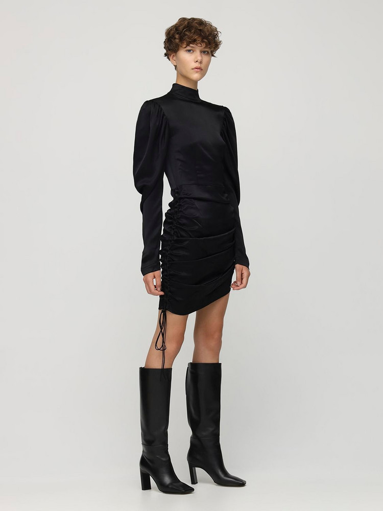 MATÉRIEL Draped Satin Mini Dress in black