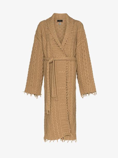 Alanui fisherman cable knit longline cardigan in brown