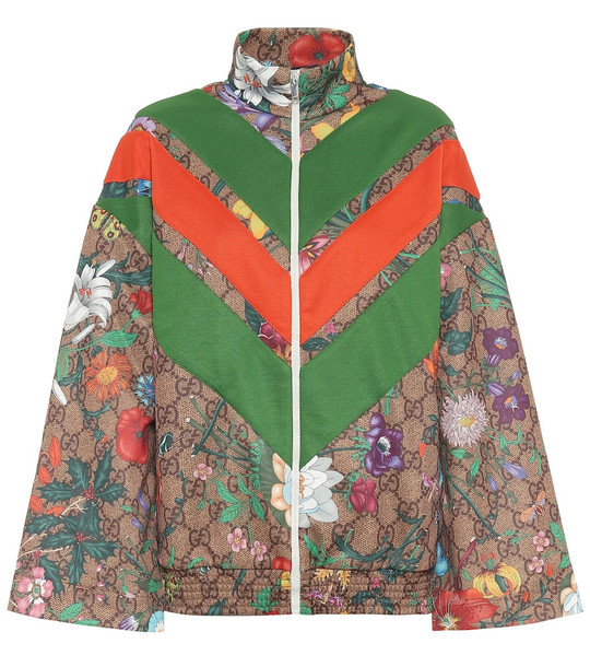 Gucci GG Flora technical-jersey jacket in brown