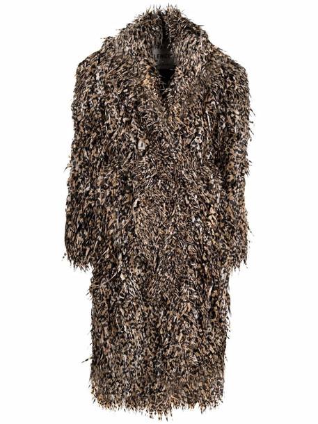 Balenciaga laser cut faux-fur coat - Neutrals