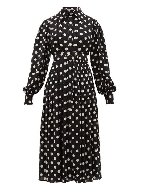Emilia Wickstead - Anatola Pleated Polka Dot Crepe Shirtdress - Womens - Black White