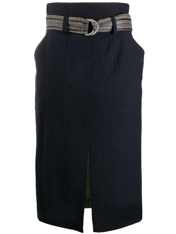 Lorena Antoniazzi belted front slit detail skirt in blue