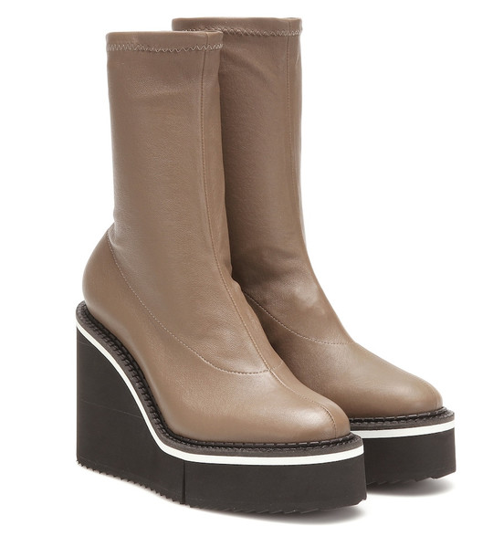 Clergerie Bliss leather platform ankle boots in beige