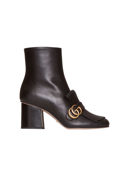 Gucci Leather Ankle Boot In Black