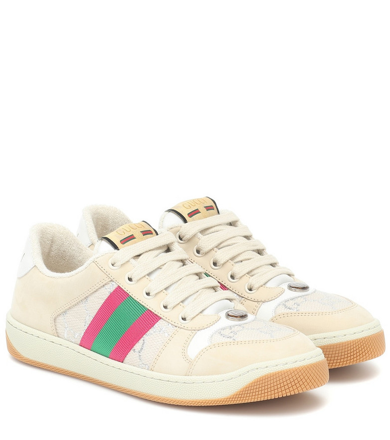 Gucci Screener leather sneakers in beige