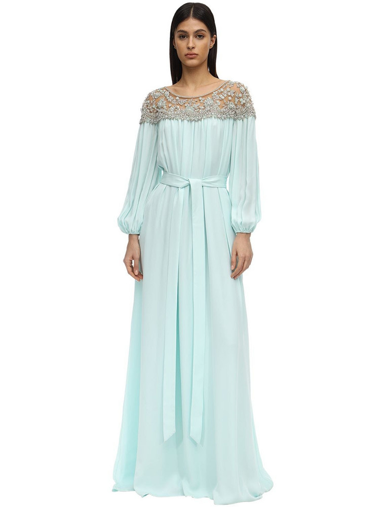 MARCHESA Caftan Dress W/ Embroidered Shoulders in blue