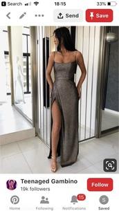 dress,silver grey sparkle side slit  dresss