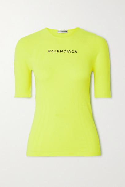 Balenciaga - Printed Neon Stretch-jersey T-shirt - Yellow