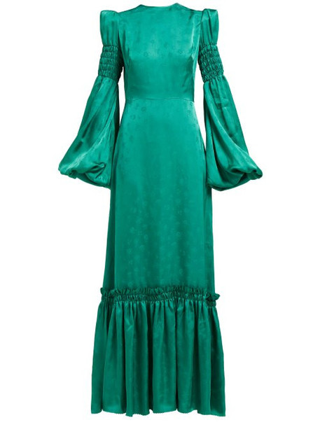 The Vampire's Wife - Cosmo Shirred Floral Jacquard Maxi Dress - Womens - Green