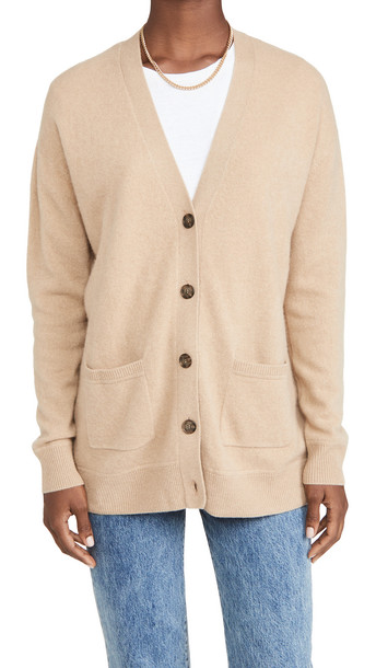 Naadam Drop Shoulder Cashmere Cardigan in camel