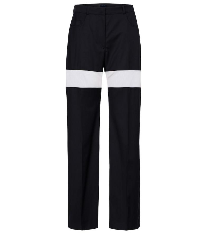 Mugler High-rise wool straight pants in black