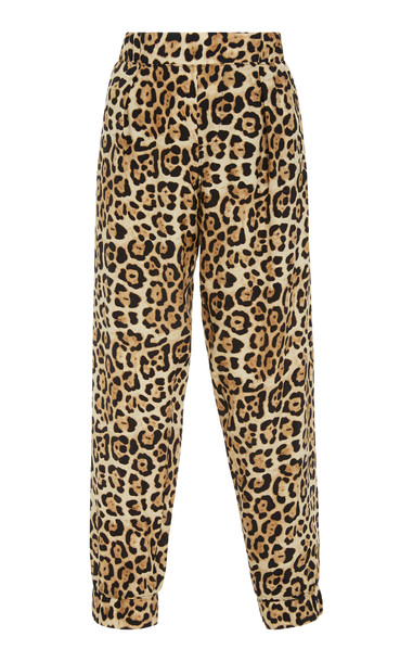 ATM Anthony Thomas Melillo Leopard-Print Silk-Charmeuse Track Pants Si