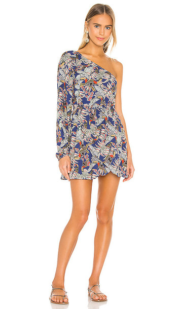 BOAMAR Hidden Treasure Village Mini Dress in Blue in navy / print