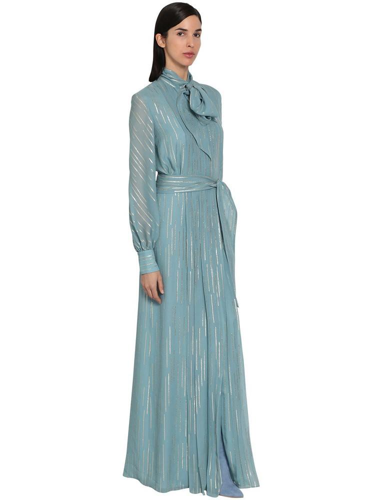 LUISA BECCARIA Lamé Georgette Chemisier Long Dress in blue