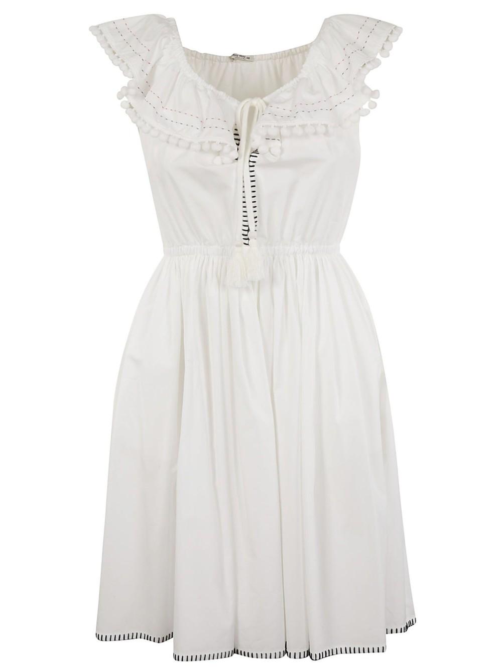 Miu Miu Off-the-shoulder Dress in white