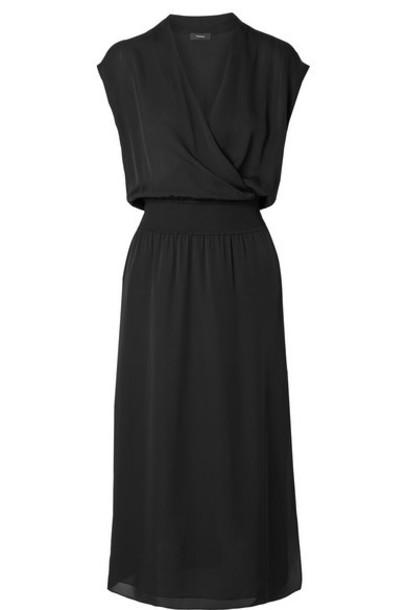 Theory - Wrap-effect Silk-chiffon Midi Dress - Black