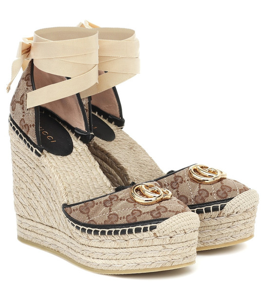 Gucci GG canvas wedge espadrilles in brown