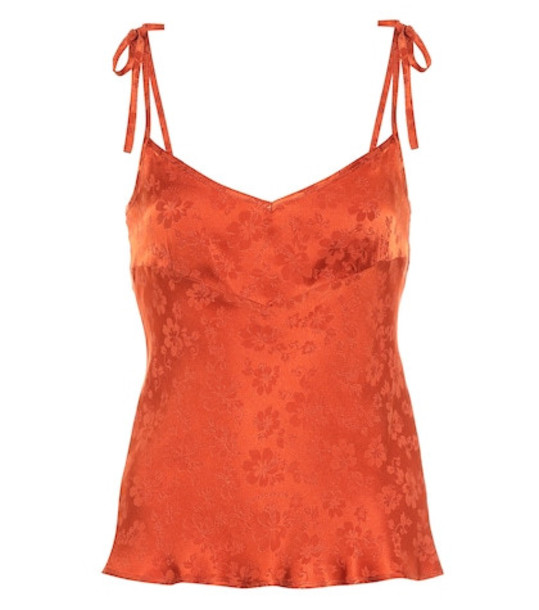 AlexaChung Satin jacquard camisole in orange