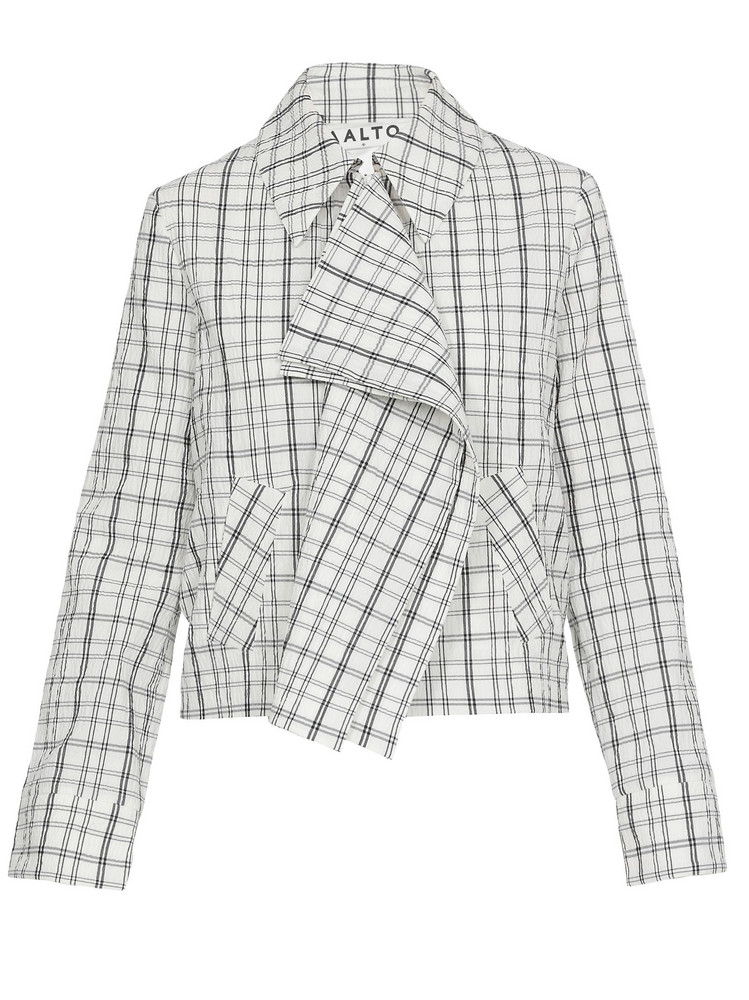 AALTO Check Patterned Jacket in white