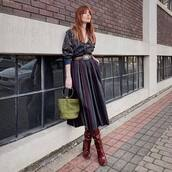 bag,bucket bag,simon miller bag,patent boots,red boots,heel boots,knee high boots,chloe,midi skirt,belt,sweater,v neck