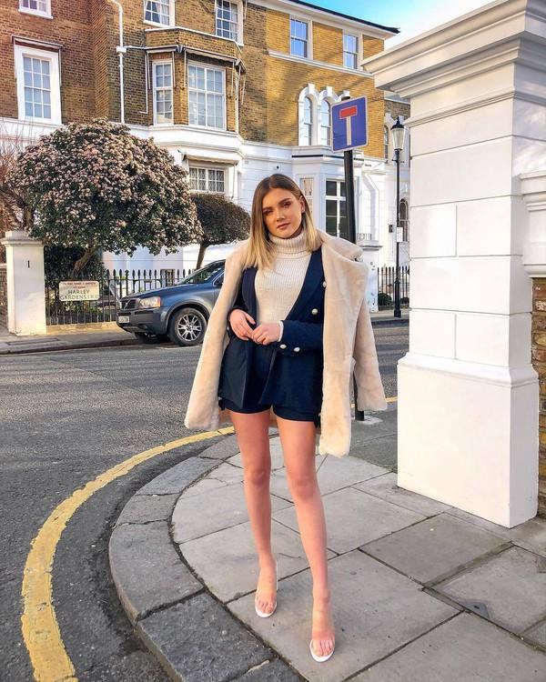 coat faux fur coat pvc high heel sandals shorts blazer turtleneck sweater