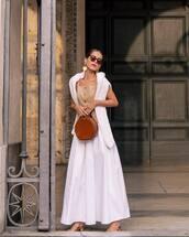 skirt,white skirt,maxi skirt,sandals,brown bag,white cardigan,tank top