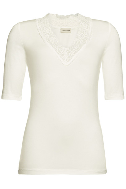 By Malene Birger Jersey Shirt with Lace Trim  in white