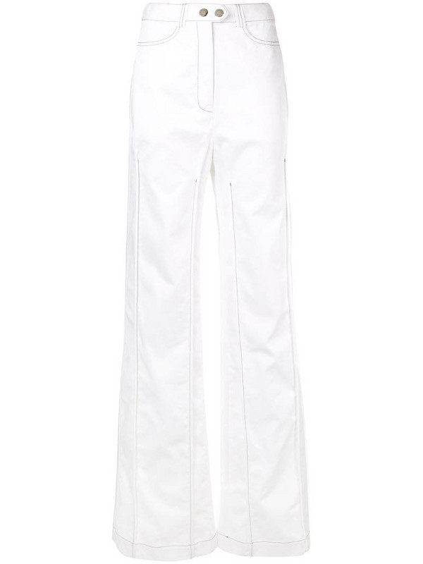 Ellery contrast stitching wide leg trousers in white