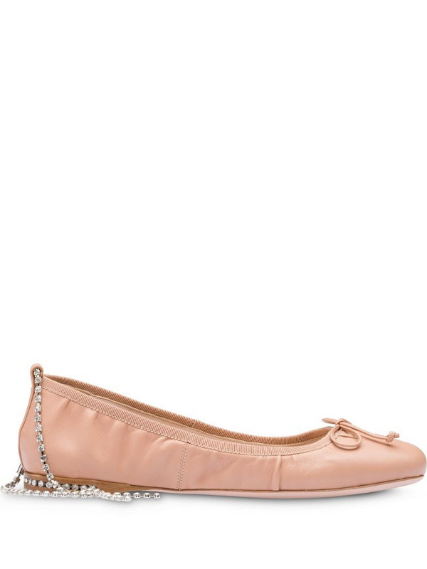 Miu Miu crystal-embellished ballerina shoes in white