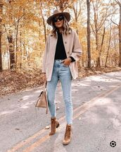 shoes,ankle boots,skinny jeans,bag,jacket,top,sweater
